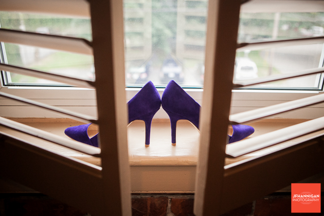 bridal shoes on window sill