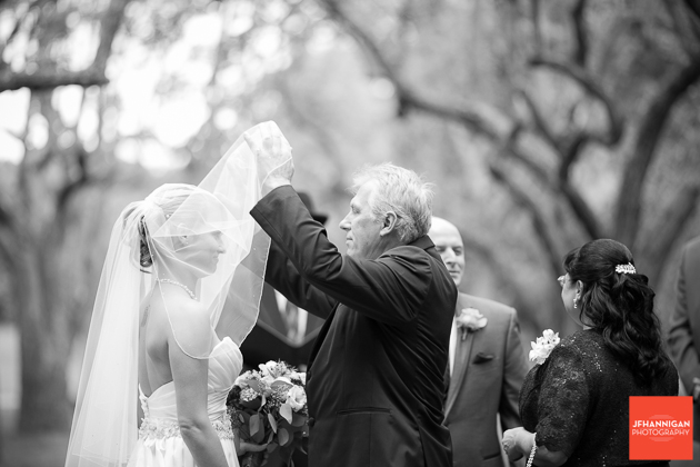 father lifting bride's veil