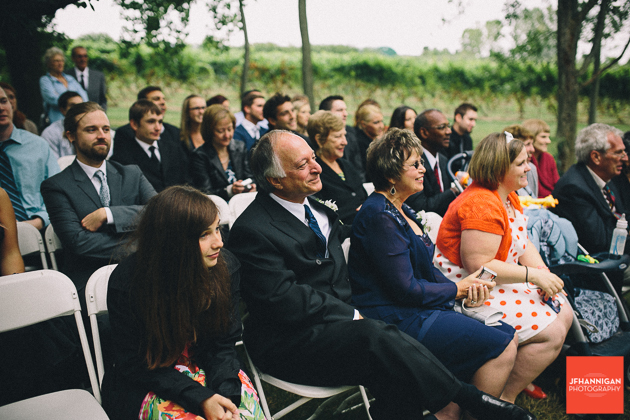 wedding guests on folding chairs at outdoor wedding