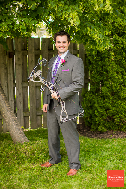 niagara, wedding, joel, hannigan, photography, bow, hunting, suit, groom
