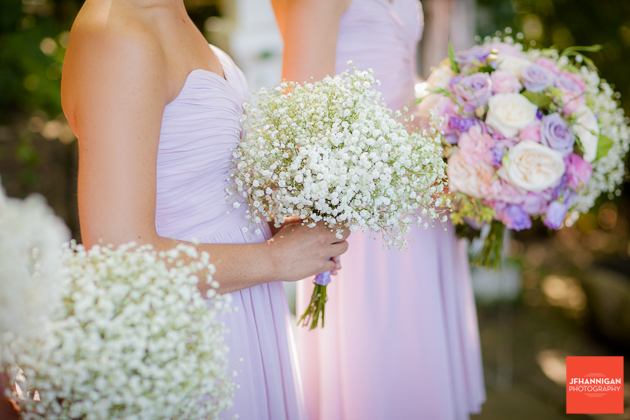 wedding bouquets  with baby's breath, pink and mauve roses