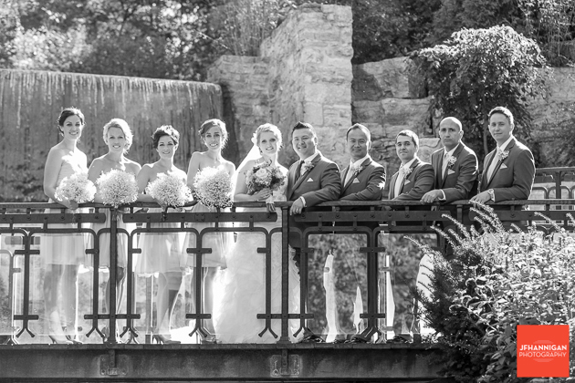 wedding party on walkway with waterfalls behind