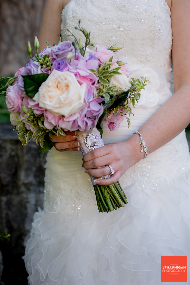 bridal bouquet in mauve and pink roses