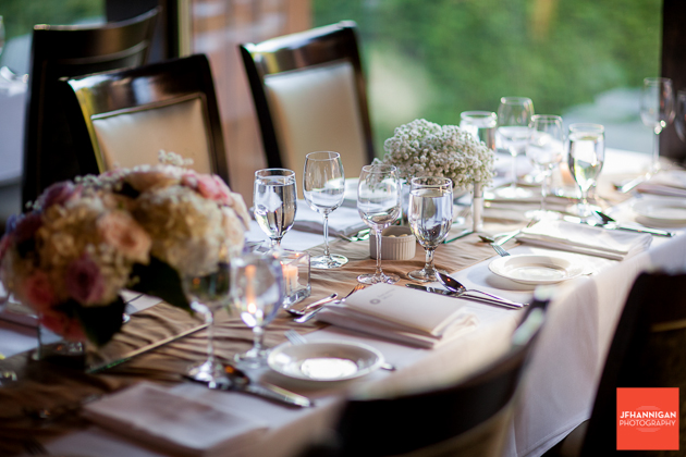 reception table at Ancaster Mill