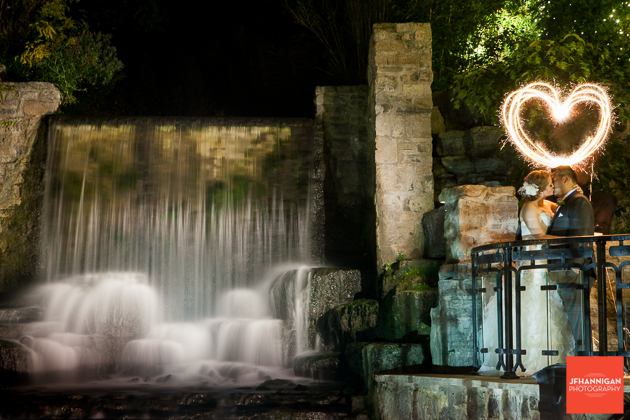 night photographer of bride and groom at Ancaster Mill waterfalls