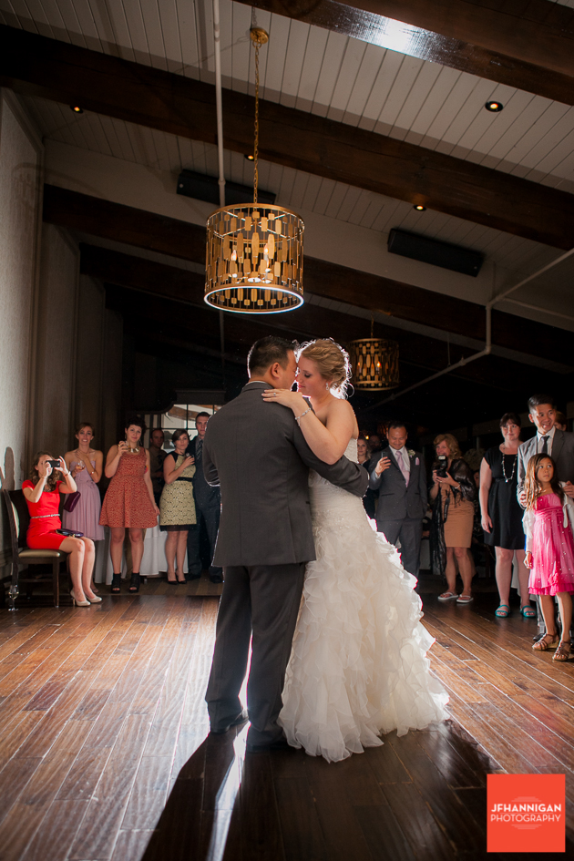 bride and groom first dance at Ancaster Mill