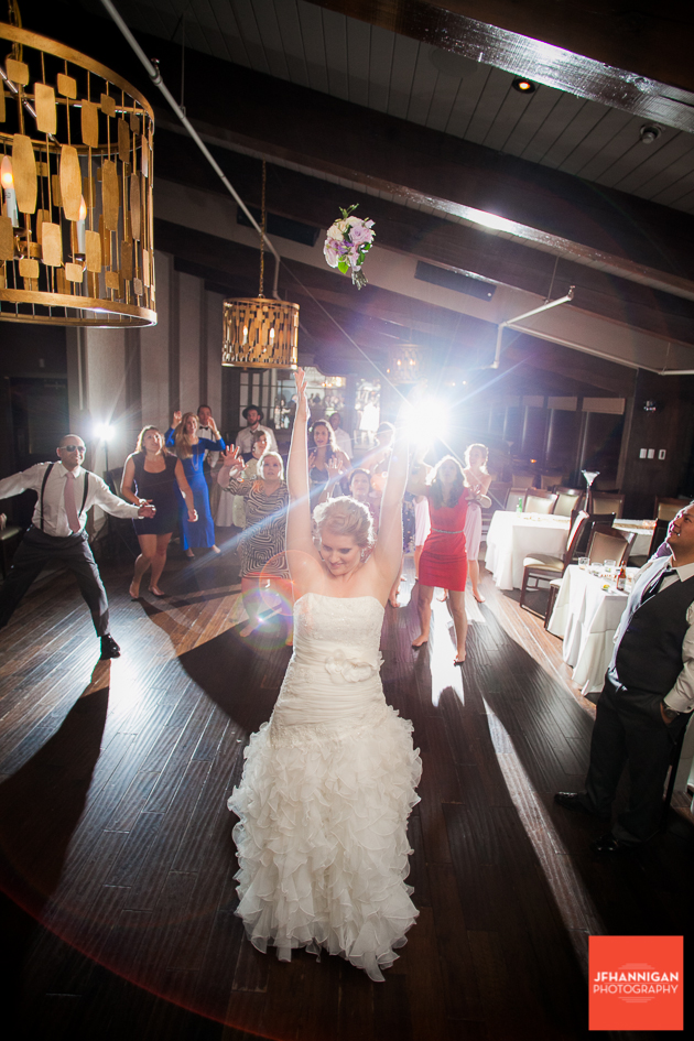 bride tosses bouquet