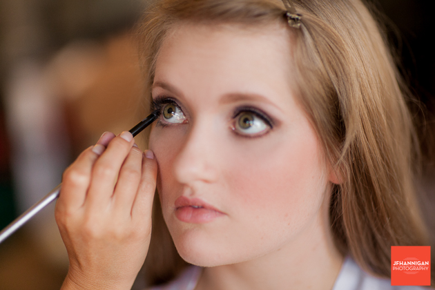 eye make-up bridal party preparations