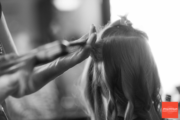 hair styling bridal party preparations