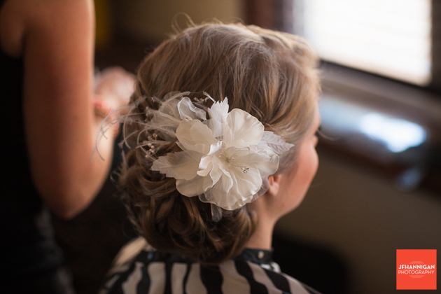 bride's hair piece white orchid with feathers
