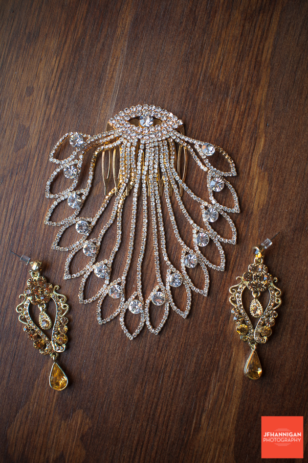 bride's hair piece and earrings