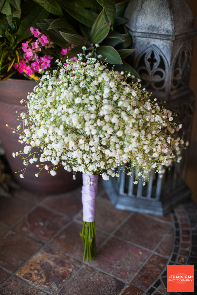 bridesmaide bouquet with baby's breath and mauve ribbon