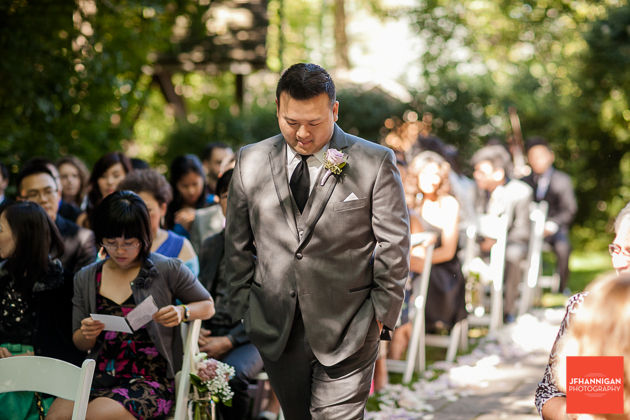 groom enters outdoor wedding ceremony