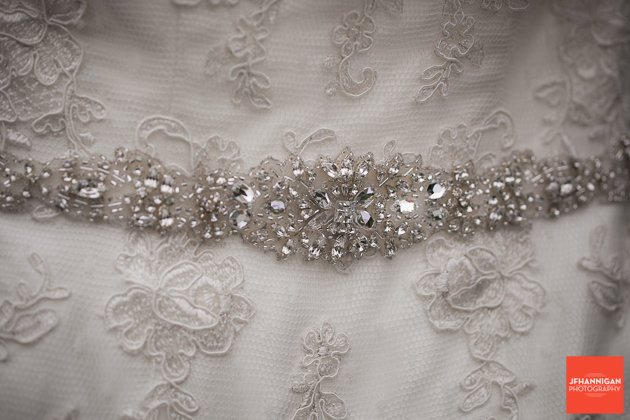 bead work on bridal dress
