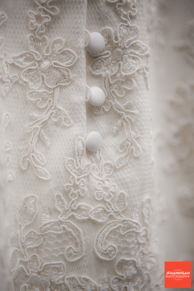 bottons on bridal gown