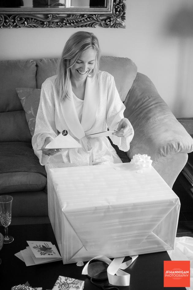 bride opens gift