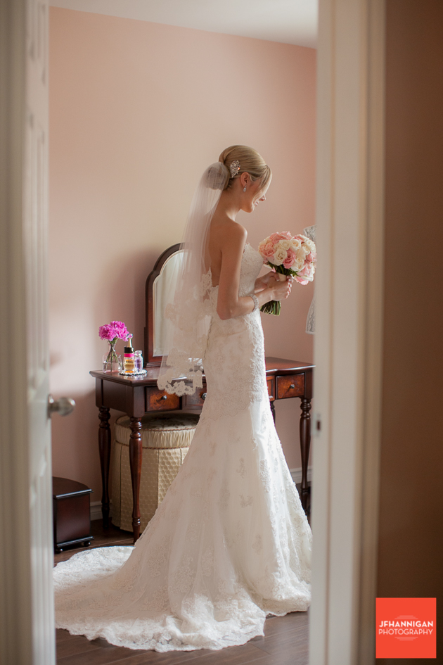 view of bride through doorway