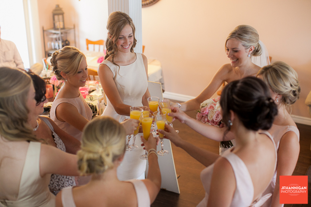 bride and attendent's toast