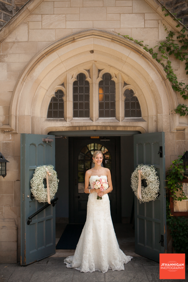 bride in church entrance