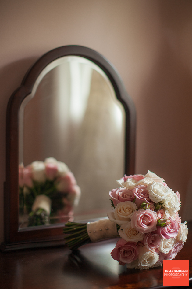 rose bridal bouquet in mirror