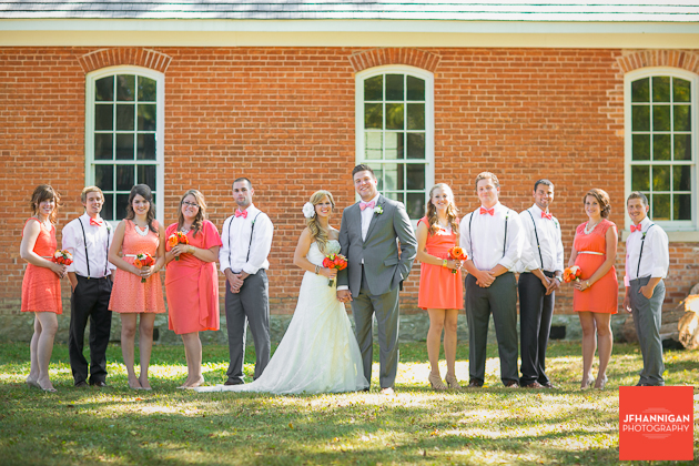 wedding party in front of old brick building Niagara Wedding Photographer