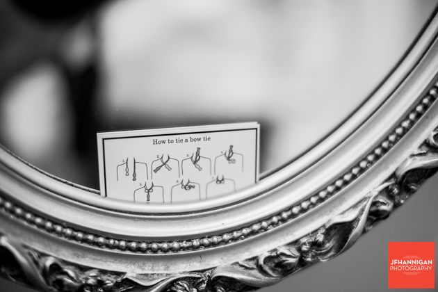 bow tie instructions set in a mirror frame