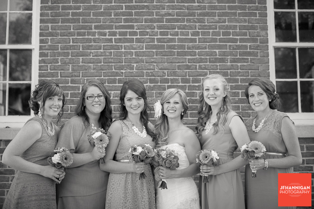 bride and bridesmaid in front of old brick building