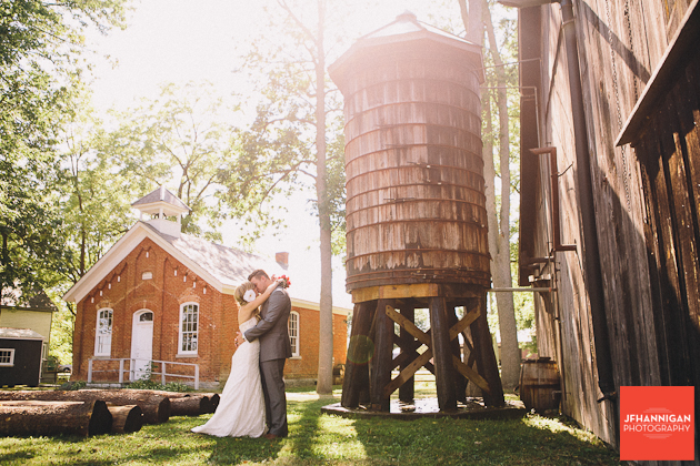 bride and groom by vintage silo