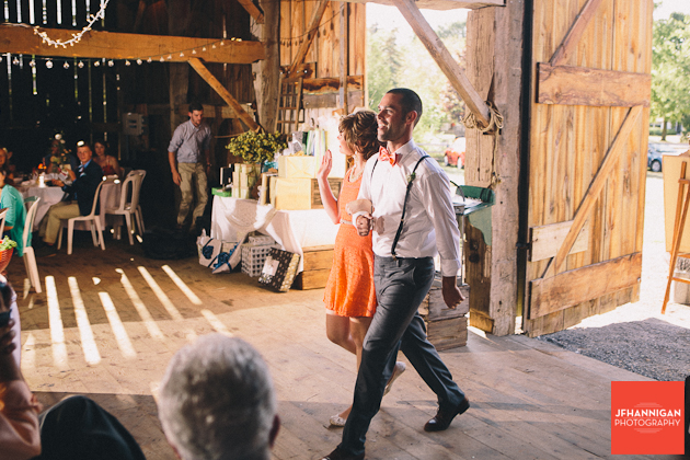 bridal party entrance at reception in barn