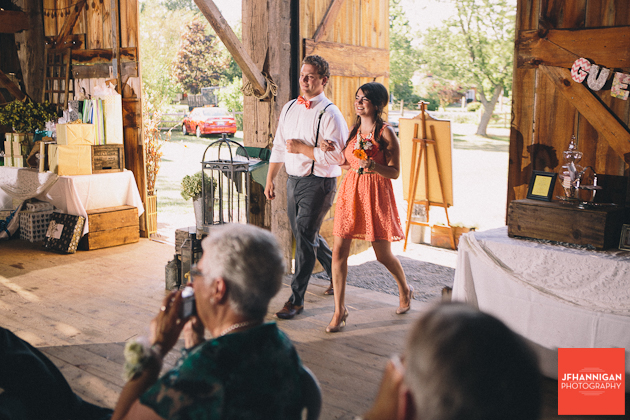 bridal party entrance at barn Niagara Wedding Photographer