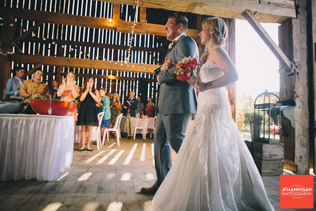 bride and grooms entrance at barn reception at Wainfleet Heritage Village