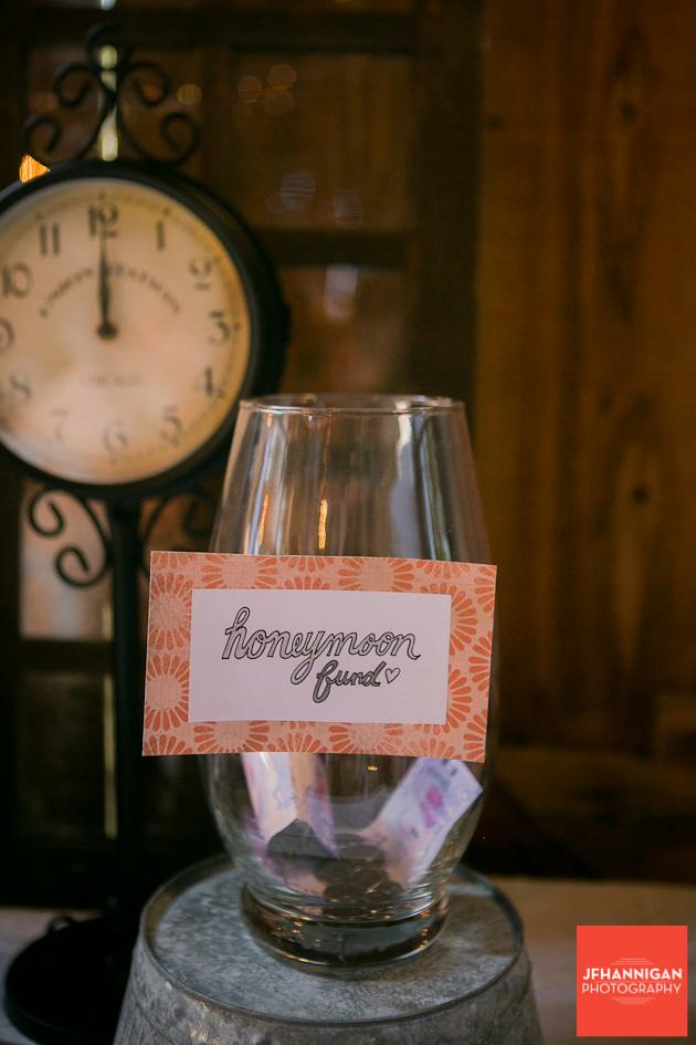 honeymoon fund donation jar at reception