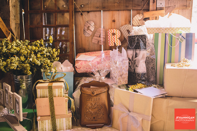 wedding gifts at barn reception Wainfleet Heritage Village