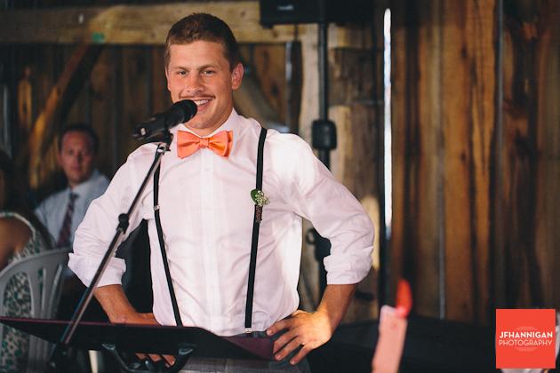 groomsmen speech at wedding reception Niagara Wedding Photographer