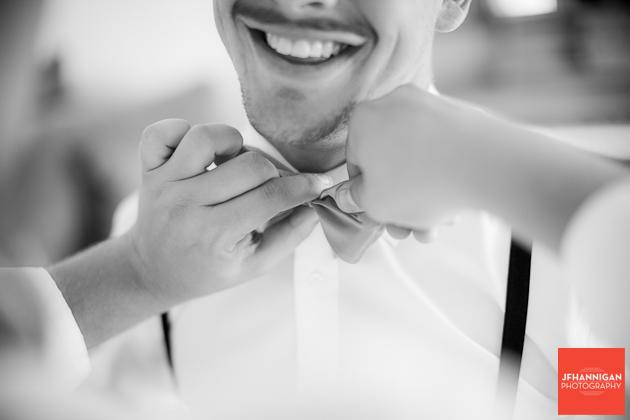 groomsman's bow tie Niagara Wedding Photographer