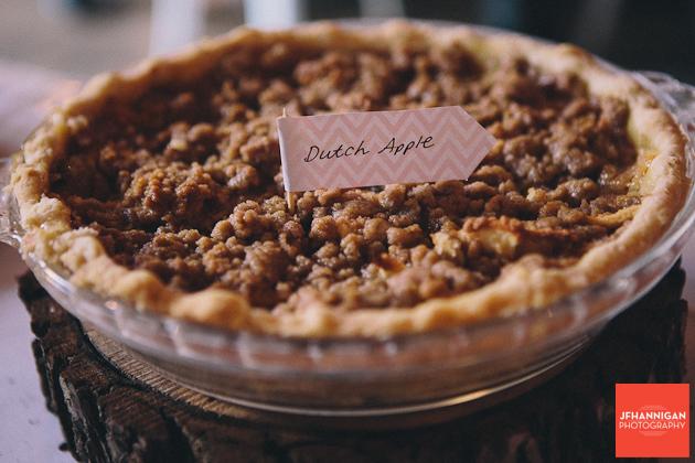 homemade pies for wedding reception dessert