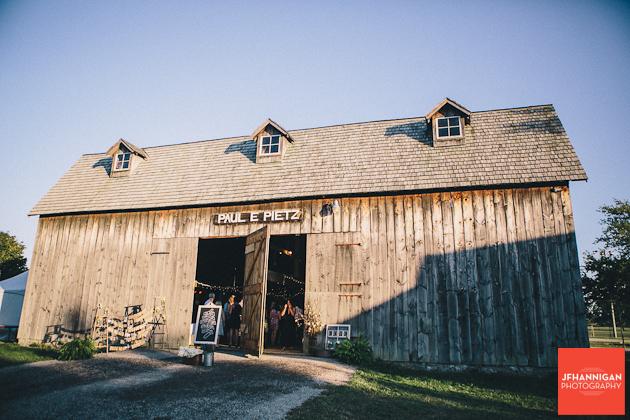 barn door of reception venue
