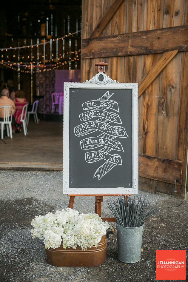 decorations at barn entrance of wedding reception