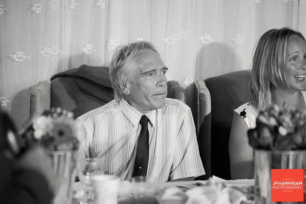 guest listen during speeches at wedding reception
