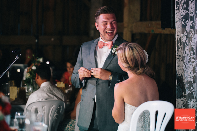 groom's laughter at wedding reception