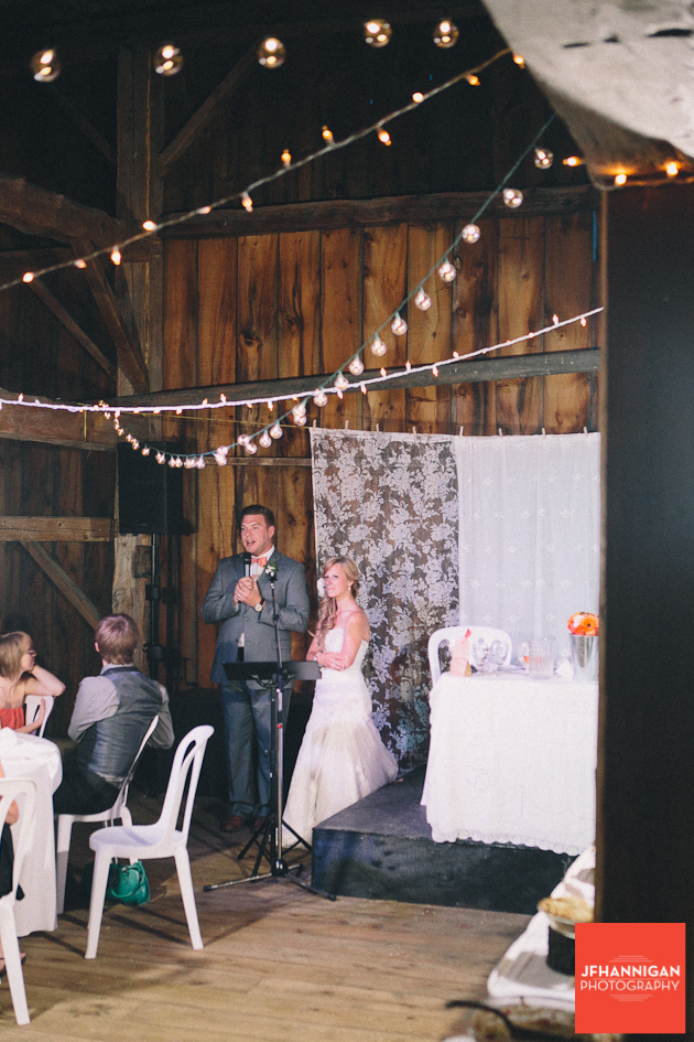 groom's speech at barn reception NIagara Wedding Photographer