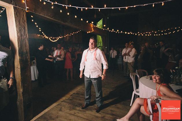groom preparing to get the garter