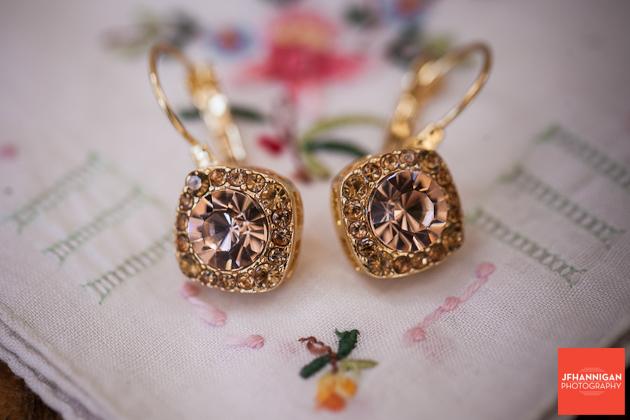 bride's earrings on hanky