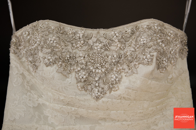 bead work on front of bride's dress