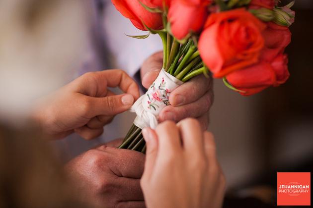tying hanky on bridal bouquet Niagara Wedding photographer