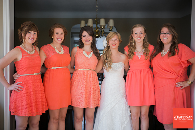 bride with attendants in home