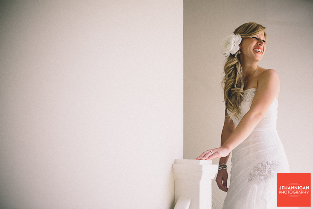 bride at top of stair case