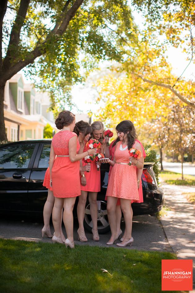 bridal attendants outside beside car