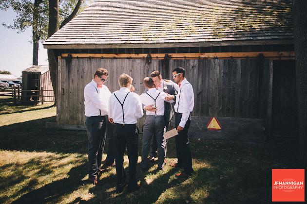 groomsment greeting groom before wedding at Wainfleet Heritage village