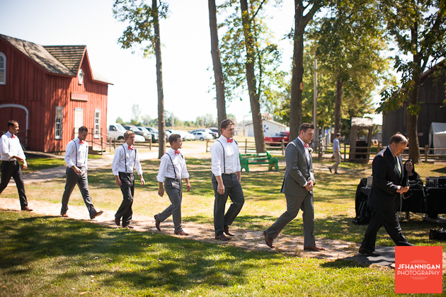 groom and groomsmen entering at beginning of wedding